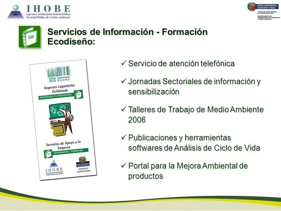 Servicios de Información - Formación Ecodiseño: Servicio de atención telefónica Servicio de atención telefónica Jornadas Sectoriales de información y