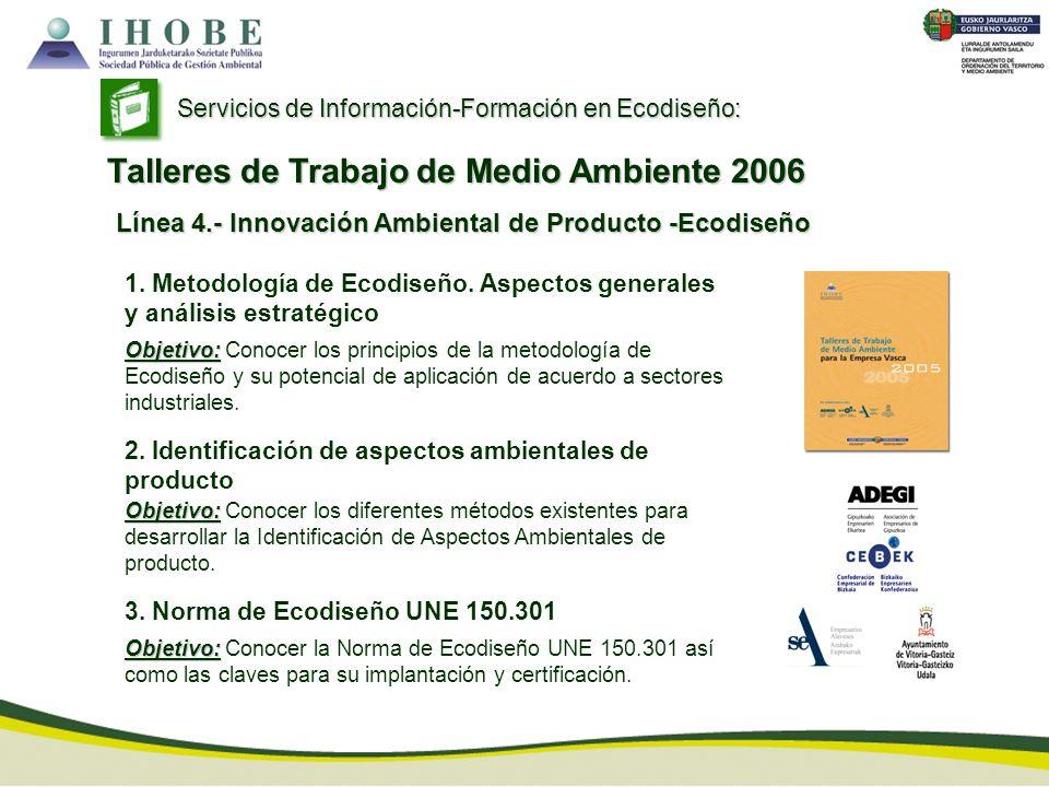 Línea 4.- Innovación Ambiental de Producto -Ecodiseño Servicios de Información-Formación en Ecodiseño: Talleres de Trabajo de Medio Ambiente 2006 1. M