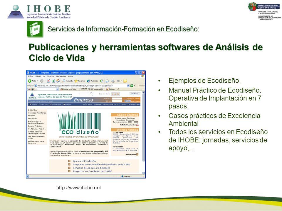 http://www.ihobe.net Ejemplos de Ecodiseño. Manual Práctico de Ecodiseño. Operativa de Implantación en 7 pasos. Casos prácticos de Excelencia Ambienta