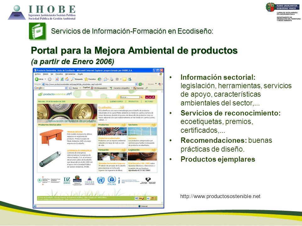 http://www.productosostenible.net Información sectorial: legislación, herramientas, servicios de apoyo, características ambientales del sector,... Ser