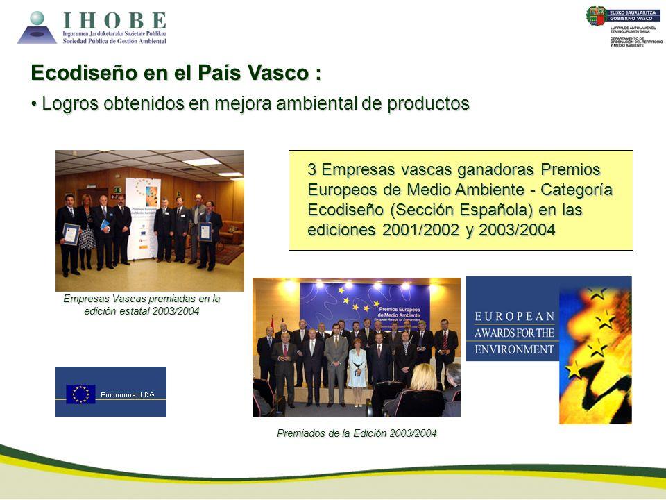 Empresas Vascas premiadas en la edición estatal 2003/2004 3 Empresas vascas ganadoras Premios Europeos de Medio Ambiente - Categoría Ecodiseño (Secció