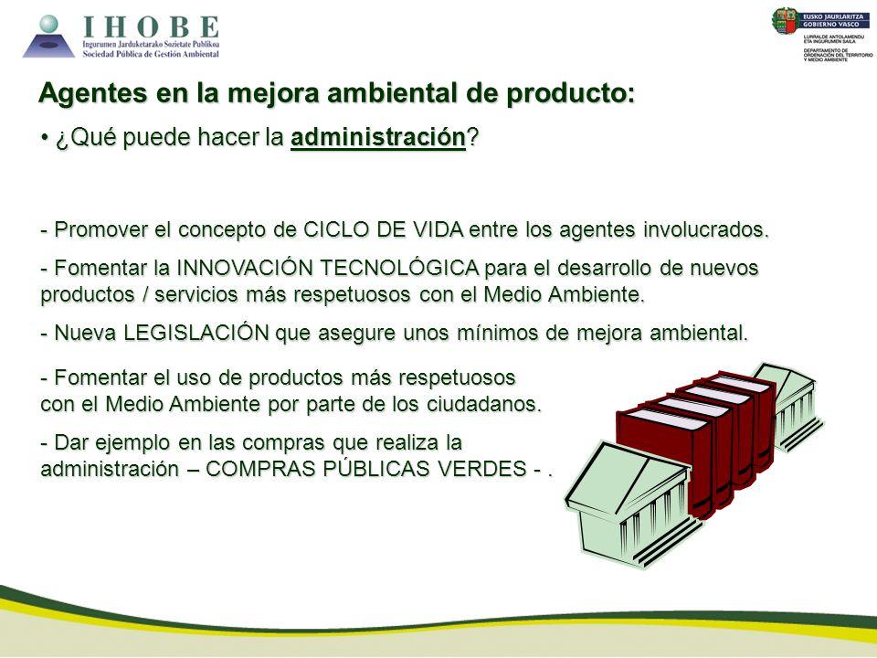 - Promover el concepto de CICLO DE VIDA entre los agentes involucrados. - Fomentar la INNOVACIÓN TECNOLÓGICA para el desarrollo de nuevos productos /