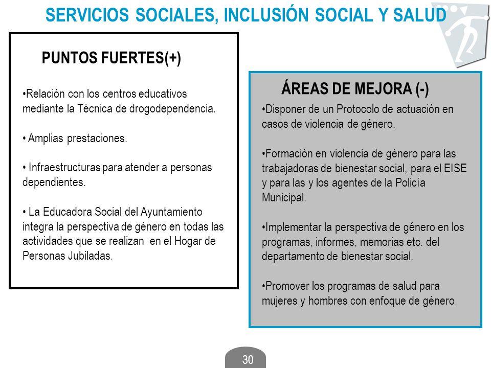 30 SERVICIOS SOCIALES, INCLUSIÓN SOCIAL Y SALUD PUNTOS FUERTES(+) ÁREAS DE MEJORA (-) Relación con los centros educativos mediante la Técnica de drogo