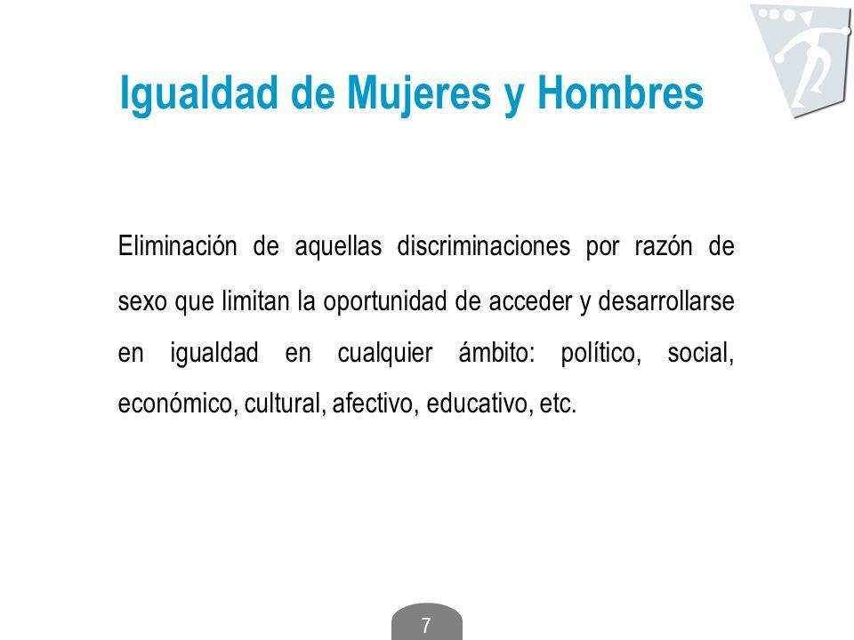 7 Igualdad de Mujeres y Hombres Eliminación de aquellas discriminaciones por razón de sexo que limitan la oportunidad de acceder y desarrollarse en ig
