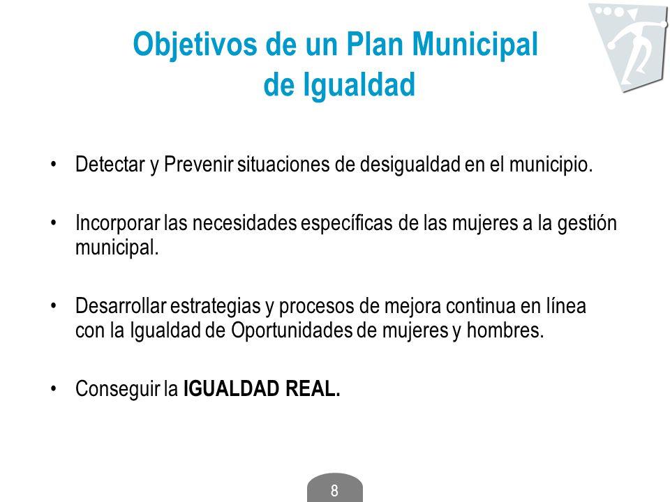 8 Objetivos de un Plan Municipal de Igualdad Detectar y Prevenir situaciones de desigualdad en el municipio. Incorporar las necesidades específicas de