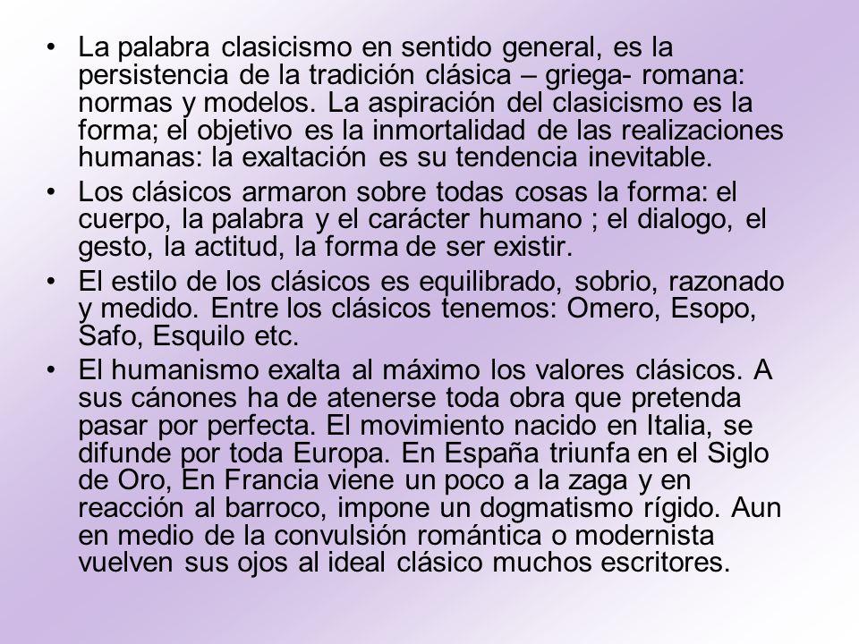 Características del Clasicismo.