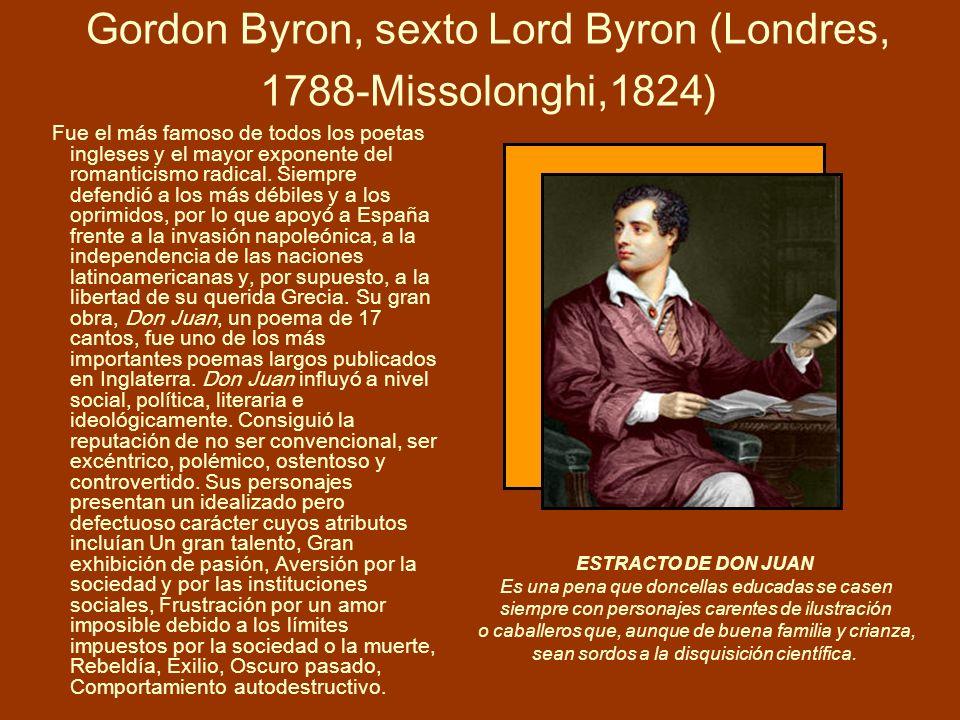 Gordon Byron, sexto Lord Byron (Londres, 1788-Missolonghi,1824) Fue el más famoso de todos los poetas ingleses y el mayor exponente del romanticismo r