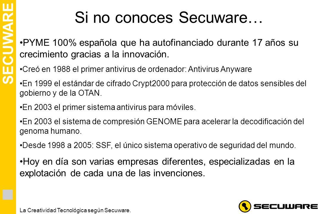 SECUWARE La Creatividad Tecnológica según Secuware. Si no conoces Secuware… PYME 100% española que ha autofinanciado durante 17 años su crecimiento gr