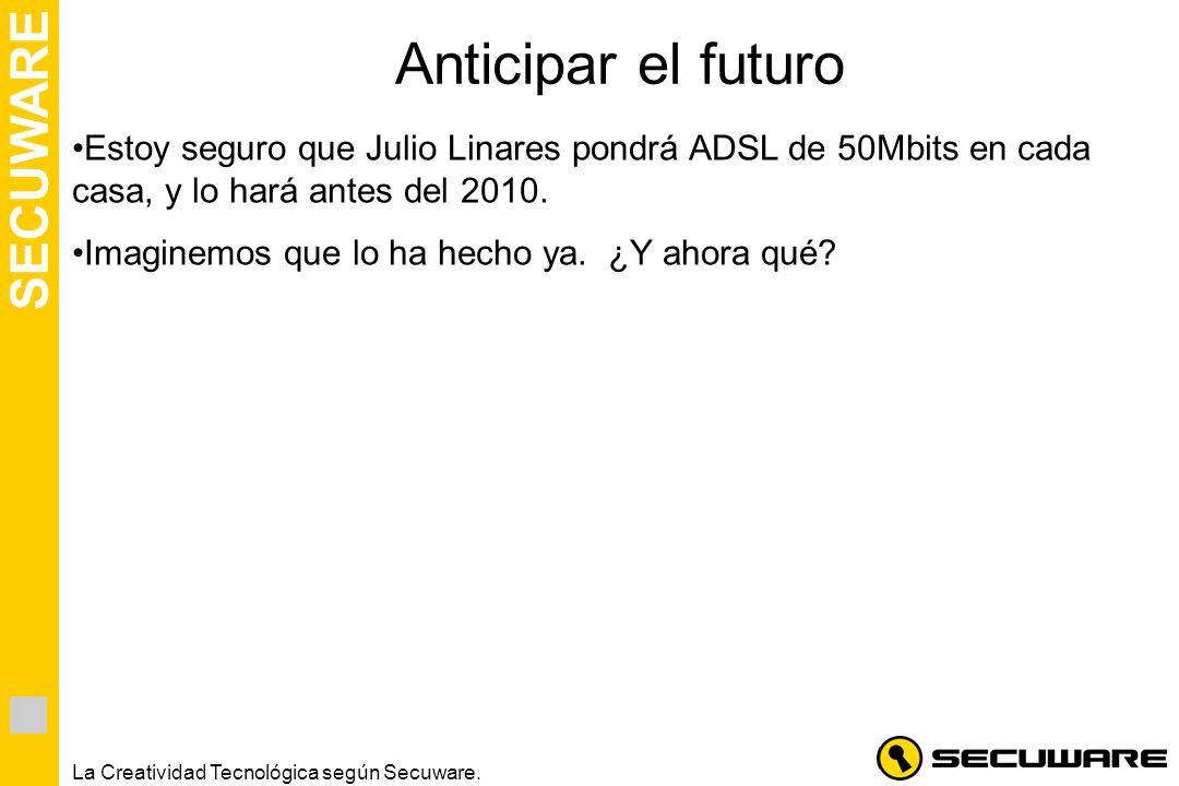 SECUWARE La Creatividad Tecnológica según Secuware. Anticipar el futuro Estoy seguro que Julio Linares pondrá ADSL de 50Mbits en cada casa, y lo hará
