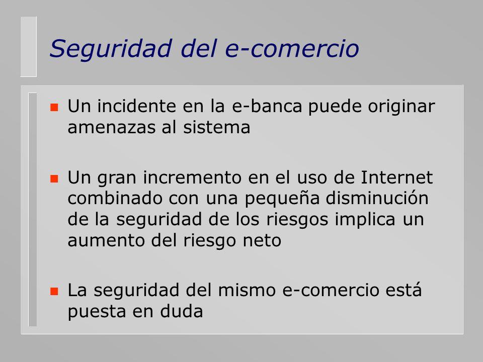 Seguridad del e-comercio n Un incidente en la e-banca puede originar amenazas al sistema n Un gran incremento en el uso de Internet combinado con una