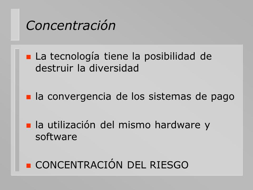 Concentración n La tecnología tiene la posibilidad de destruir la diversidad n la convergencia de los sistemas de pago n la utilización del mismo hard