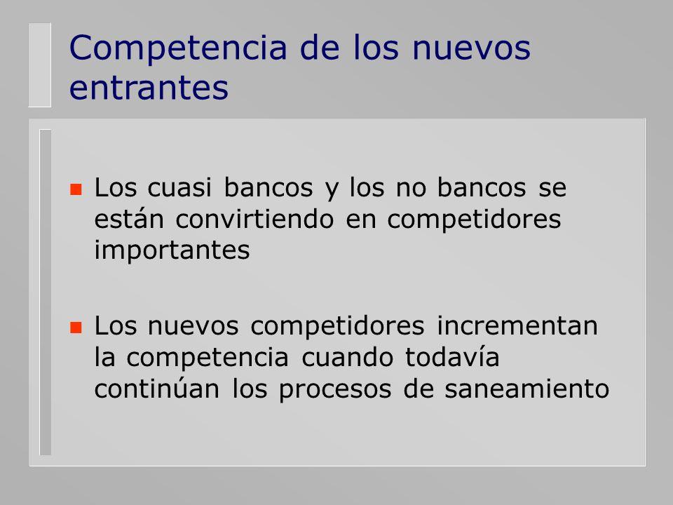 Competencia de los nuevos entrantes n Los cuasi bancos y los no bancos se están convirtiendo en competidores importantes n Los nuevos competidores inc