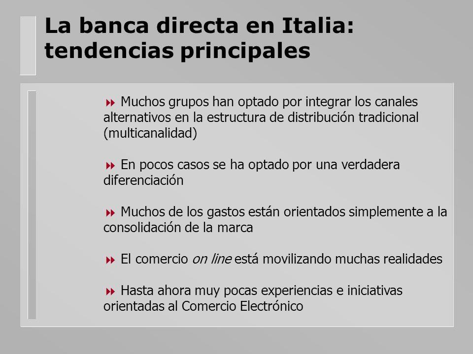La banca directa en Italia: tendencias principales Muchos grupos han optado por integrar los canales alternativos en la estructura de distribución tra
