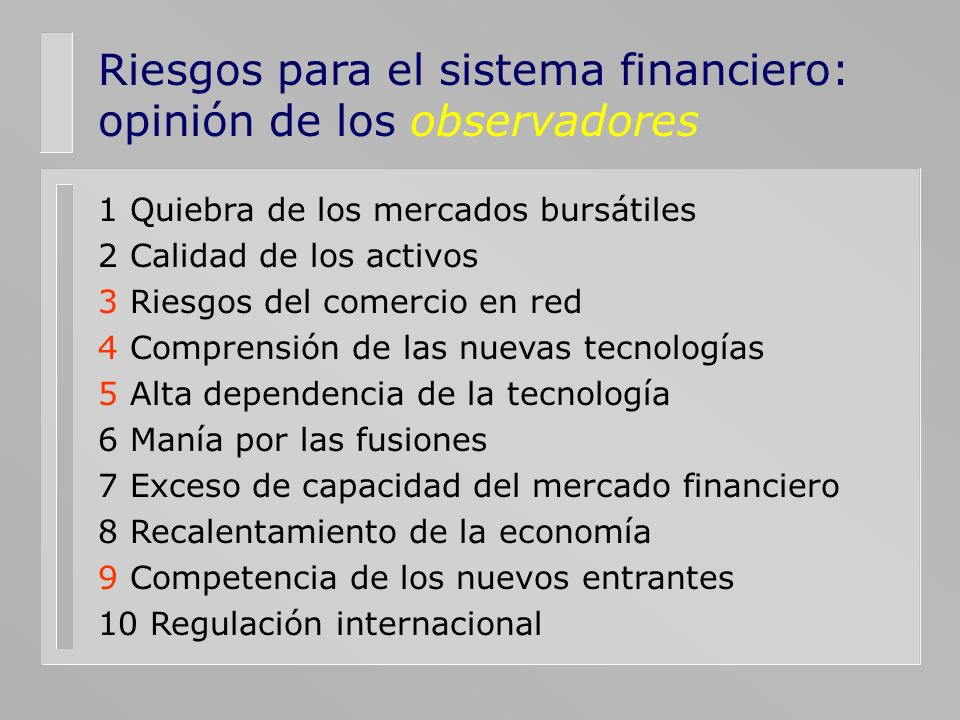 Riesgos para el sistema financiero: opinión de los observadores 1 Quiebra de los mercados bursátiles 2 Calidad de los activos 3 Riesgos del comercio e