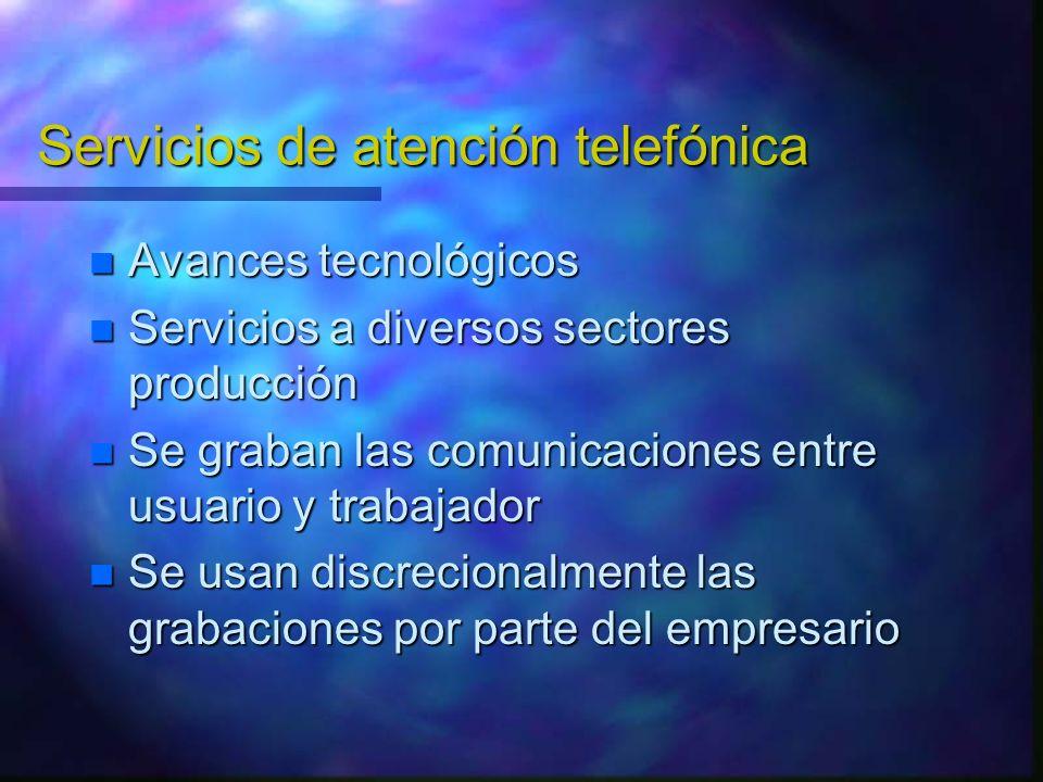 Servicios de atención telefónica Avances tecnológicos Avances tecnológicos Servicios a diversos sectores producción Servicios a diversos sectores prod