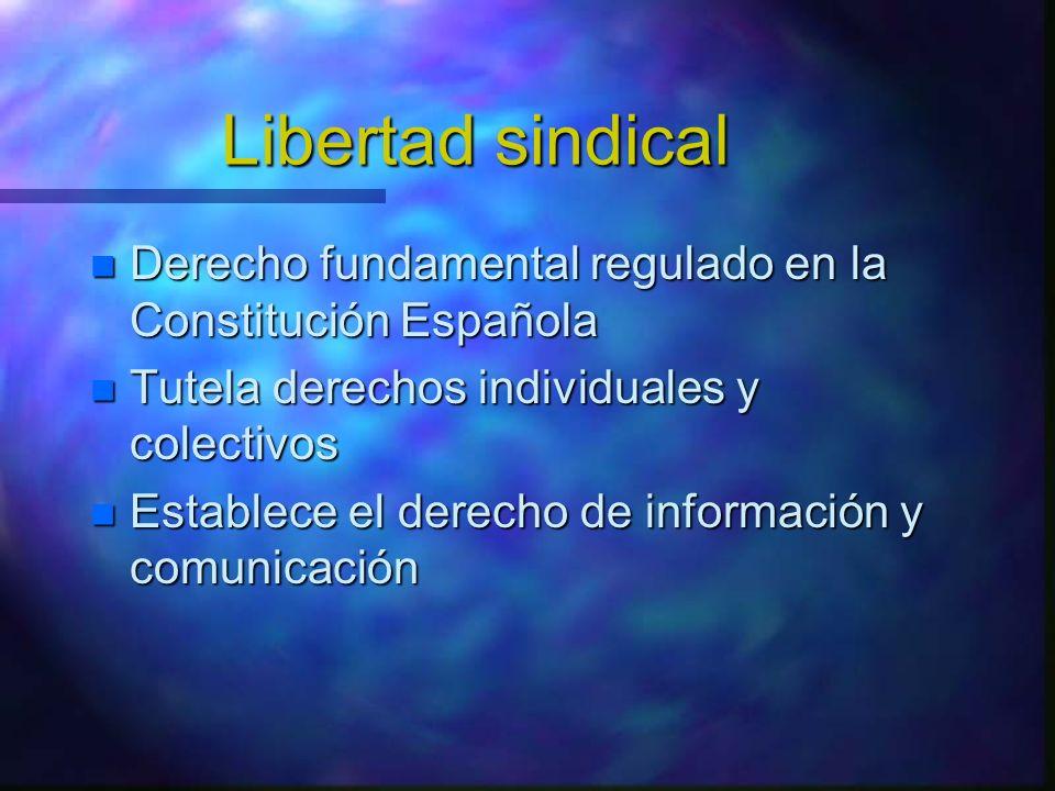 Libertad sindical Derecho fundamental regulado en la Constitución Española Derecho fundamental regulado en la Constitución Española Tutela derechos in
