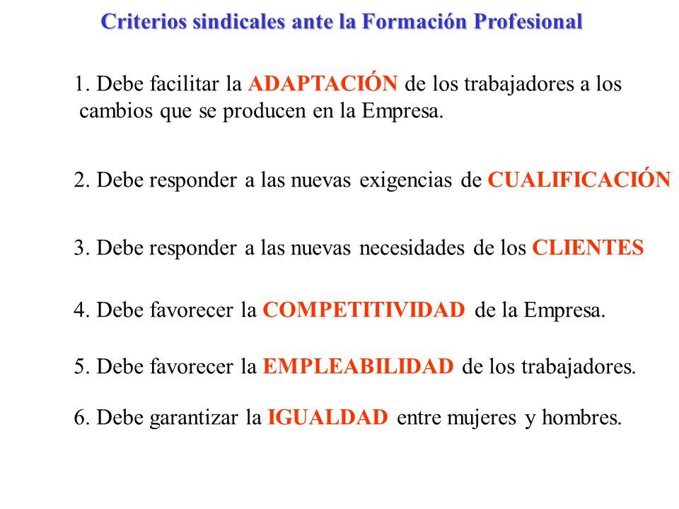 Criterios sindicales ante la Formación Profesional 1. Debe facilitar la ADAPTACIÓN de los trabajadores a los cambios que se producen en la Empresa. 2.