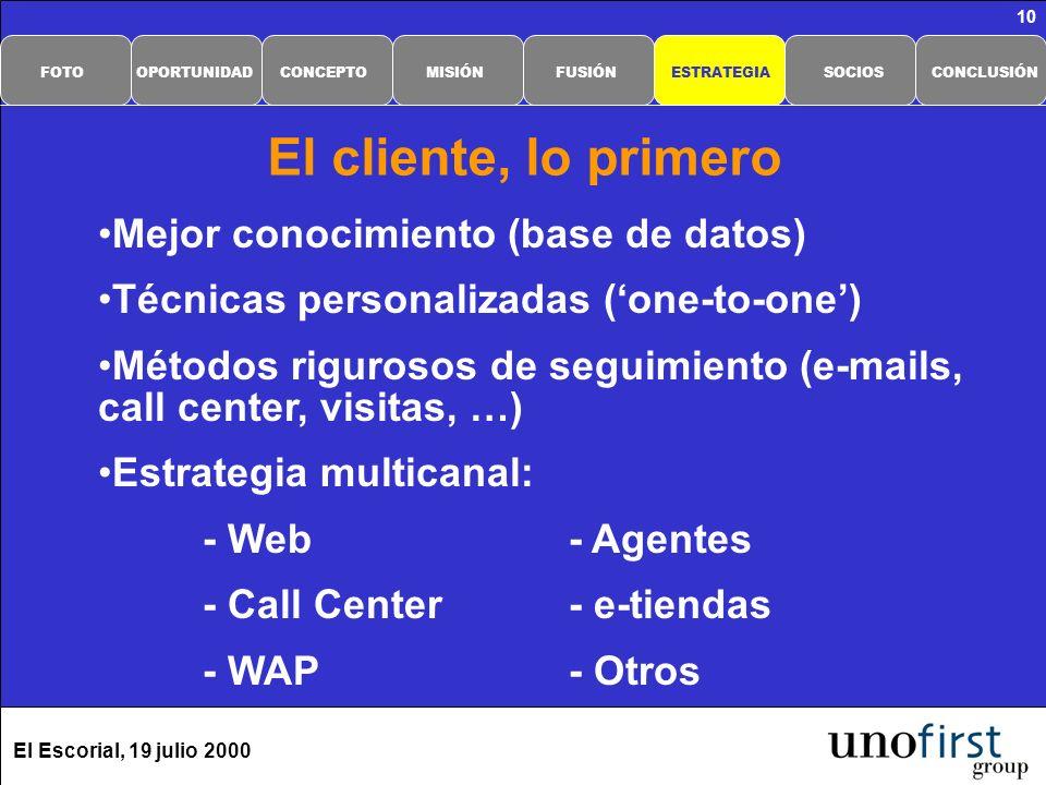El Escorial, 19 julio 2000 10 Mejor conocimiento (base de datos) Técnicas personalizadas (one-to-one) Métodos rigurosos de seguimiento (e-mails, call