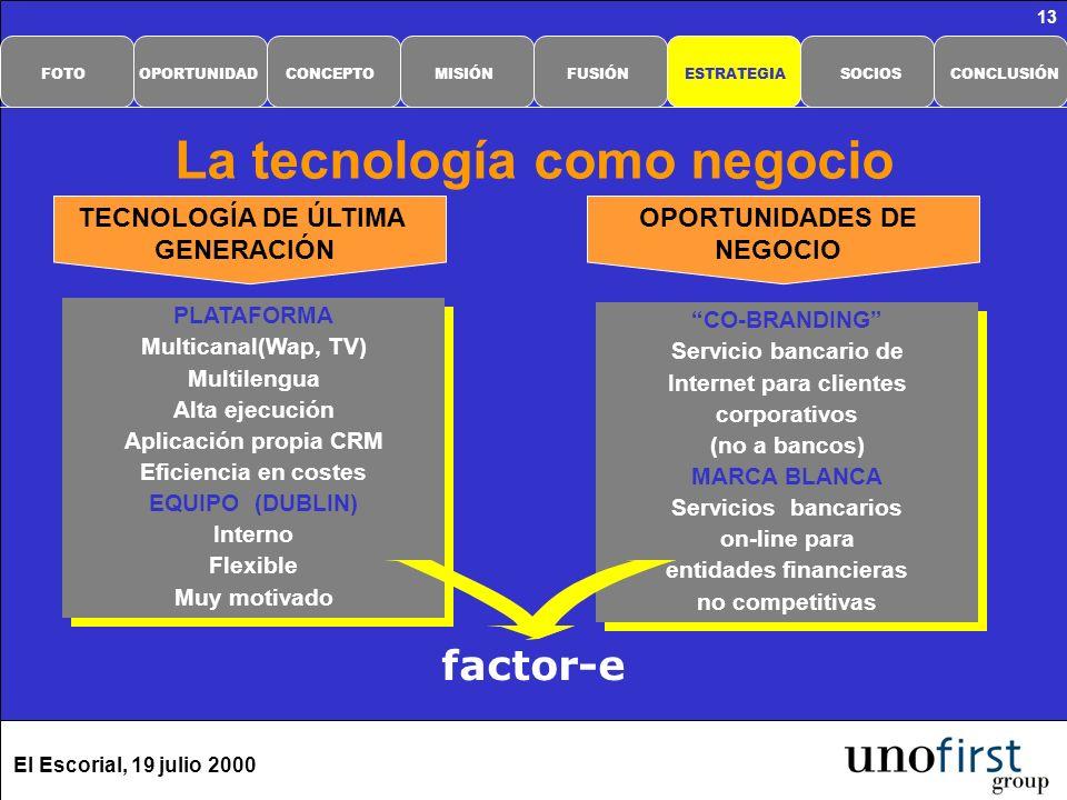 El Escorial, 19 julio 2000 13 La tecnología como negocio PLATAFORMA Multicanal(Wap, TV) Multilengua Alta ejecución Aplicación propia CRM Eficiencia en costes EQUIPO (DUBLIN) Interno Flexible Muy motivado PLATAFORMA Multicanal(Wap, TV) Multilengua Alta ejecución Aplicación propia CRM Eficiencia en costes EQUIPO (DUBLIN) Interno Flexible Muy motivado CO-BRANDING Servicio bancario de Internet para clientes corporativos (no a bancos) MARCA BLANCA Servicios bancarios on-line para entidades financieras no competitivas CO-BRANDING Servicio bancario de Internet para clientes corporativos (no a bancos) MARCA BLANCA Servicios bancarios on-line para entidades financieras no competitivas TECNOLOGÍA DE ÚLTIMA GENERACIÓN OPORTUNIDADES DE NEGOCIO factor-e CONCLUSIÓNSOCIOSESTRATEGIAFUSIÓNMISIÓNCONCEPTOOPORTUNIDADFOTO