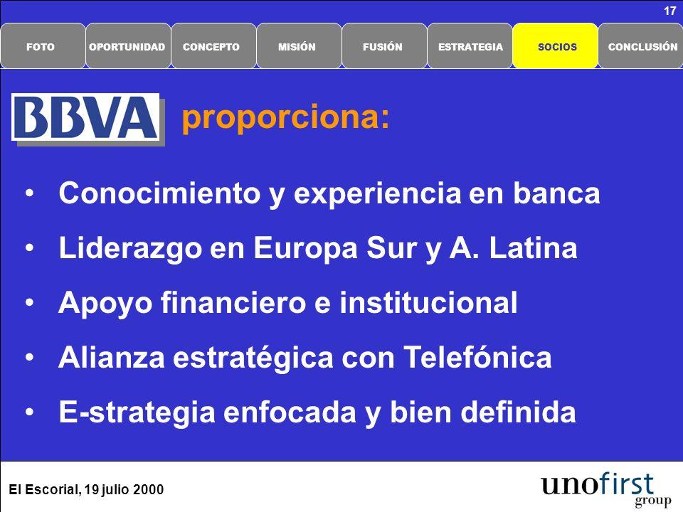 El Escorial, 19 julio 2000 17 Conocimiento y experiencia en banca Liderazgo en Europa Sur y A. Latina Apoyo financiero e institucional Alianza estraté