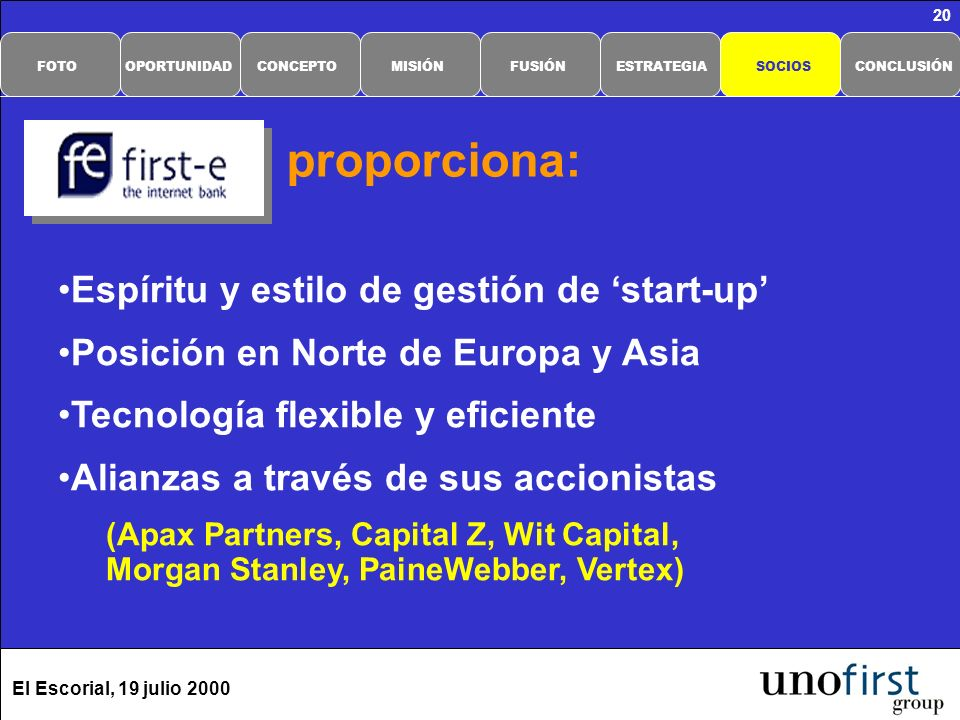 El Escorial, 19 julio 2000 20 proporciona: Espíritu y estilo de gestión de start-up Posición en Norte de Europa y Asia Tecnología flexible y eficiente Alianzas a través de sus accionistas (Apax Partners, Capital Z, Wit Capital, Morgan Stanley, PaineWebber, Vertex) CONCLUSIÓNSOCIOSESTRATEGIAFUSIÓNMISIÓNCONCEPTOOPORTUNIDADFOTO