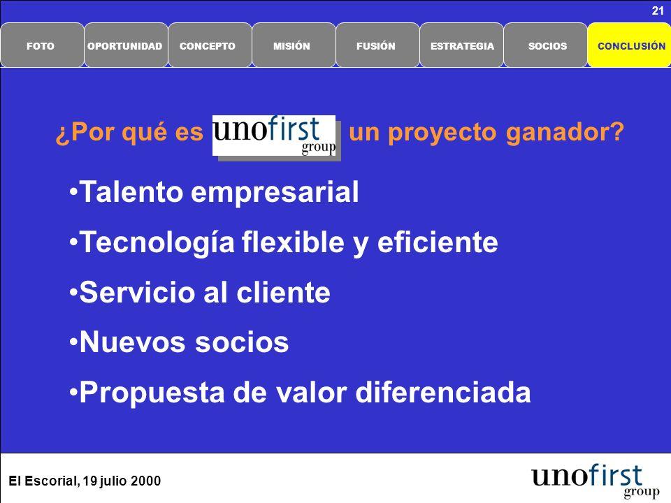 El Escorial, 19 julio 2000 21 Talento empresarial Tecnología flexible y eficiente Servicio al cliente Nuevos socios Propuesta de valor diferenciada ¿Por qué es un proyecto ganador.
