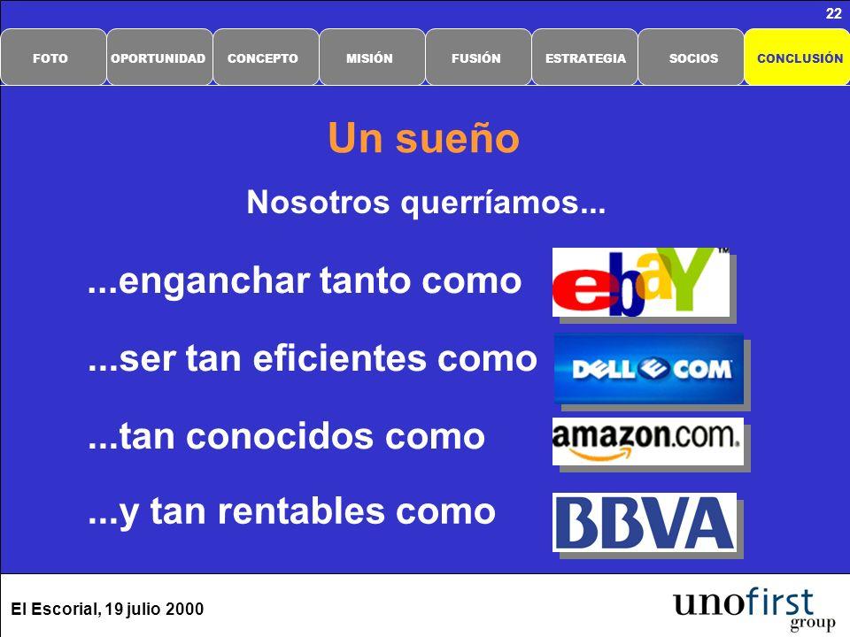 El Escorial, 19 julio 2000 22 Un sueño Nosotros querríamos......y tan rentables como...ser tan eficientes como...tan conocidos como...enganchar tanto como CONCLUSIÓNSOCIOSESTRATEGIAFUSIÓNMISIÓNCONCEPTOOPORTUNIDADFOTO