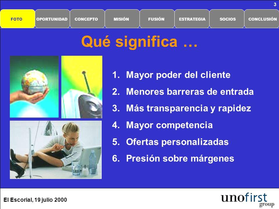 El Escorial, 19 julio 2000 3 Qué significa … 1.Mayor poder del cliente 2.Menores barreras de entrada 3.Más transparencia y rapidez 4.Mayor competencia