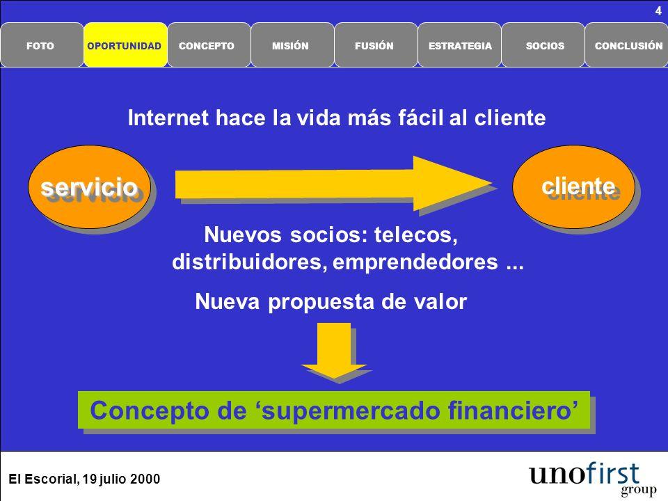 El Escorial, 19 julio 2000 4 Nuevos socios: telecos, distribuidores, emprendedores... Nueva propuesta de valor Concepto de supermercado financiero cli