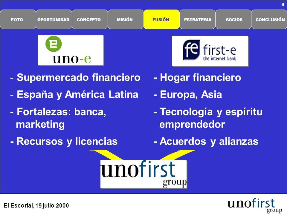 El Escorial, 19 julio 2000 10 Mejor conocimiento (base de datos) Técnicas personalizadas (one-to-one) Métodos rigurosos de seguimiento (e-mails, call center, visitas, …) Estrategia multicanal: - Web- Agentes - Call Center- e-tiendas - WAP- Otros El cliente, lo primero CONCLUSIÓNSOCIOSESTRATEGIAFUSIÓNMISIÓNCONCEPTOOPORTUNIDADFOTO
