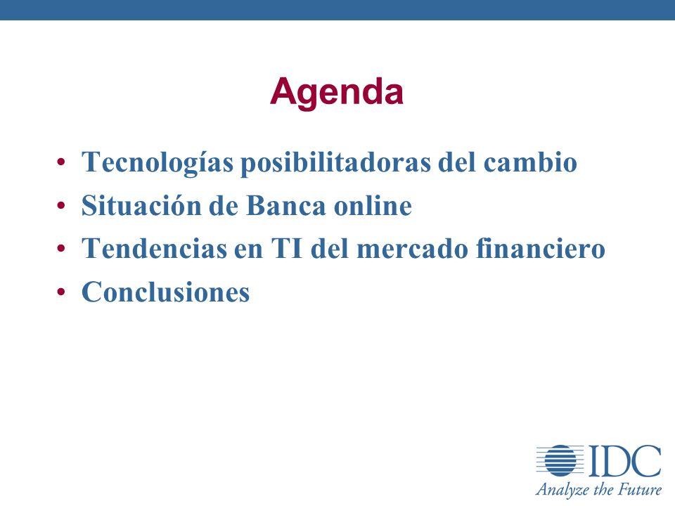 Agenda Tecnologías posibilitadoras del cambio Situación de Banca online Tendencias en TI del mercado financiero Conclusiones