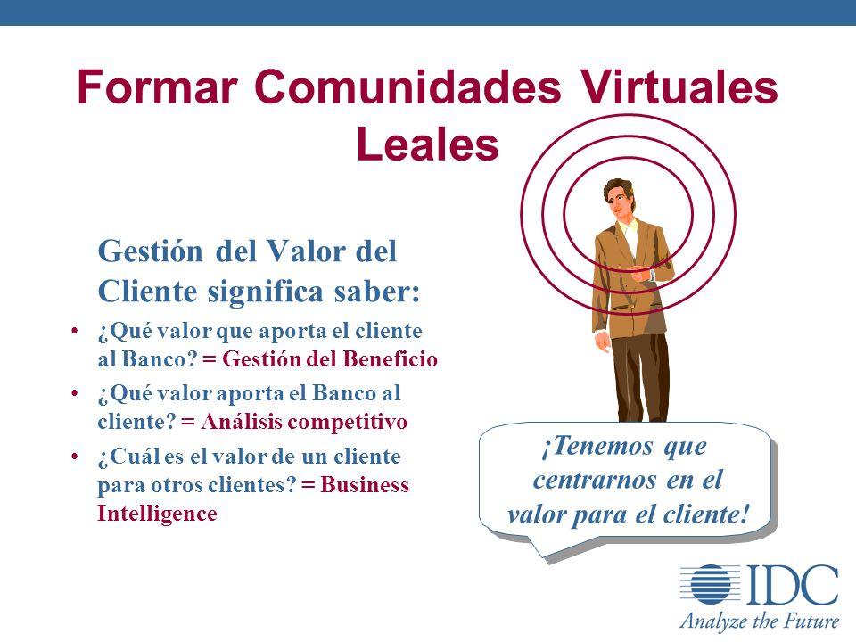 Formar Comunidades Virtuales Leales ¡Tenemos que centrarnos en el valor para el cliente! Gestión del Valor del Cliente significa saber: ¿Qué valor que