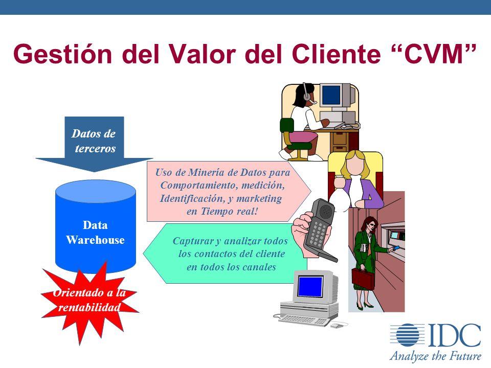 Gestión del Valor del Cliente CVM Data Warehouse Capturar y analizar todos los contactos del cliente en todos los canales Uso de Minería de Datos para