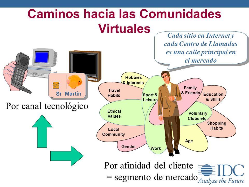 Caminos hacia las Comunidades Virtuales Por canal tecnológico Por afinidad del cliente = segmento de mercado Family & Friends Sport & Leisure Local Co
