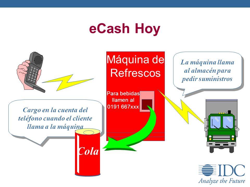 eCash Hoy Máquina de Refrescos Para bebidas llamen al 0191 667xxx Cargo en la cuenta del teléfono cuando el cliente llama a la máquina La máquina llam