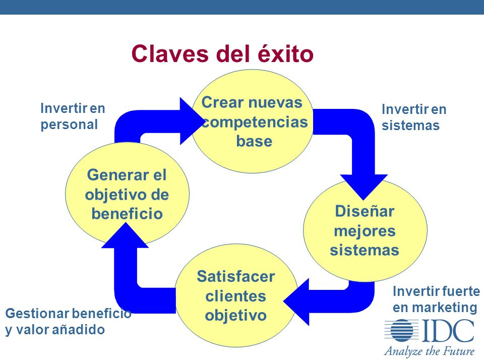 Satisfacer clientes objetivo Claves del éxito Crear nuevas competencias base Generar el objetivo de beneficio Diseñar mejores sistemas Invertir en per