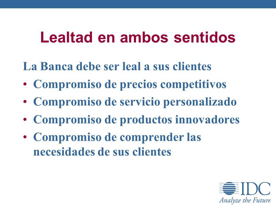 Lealtad en ambos sentidos La Banca debe ser leal a sus clientes Compromiso de precios competitivos Compromiso de servicio personalizado Compromiso de