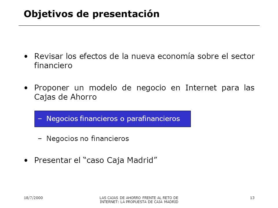 18/7/2000LAS CAJAS DE AHORRO FRENTE AL RETO DE INTERNET: LA PROPUESTA DE CAJA MADRID 14 Planteamiento ….
