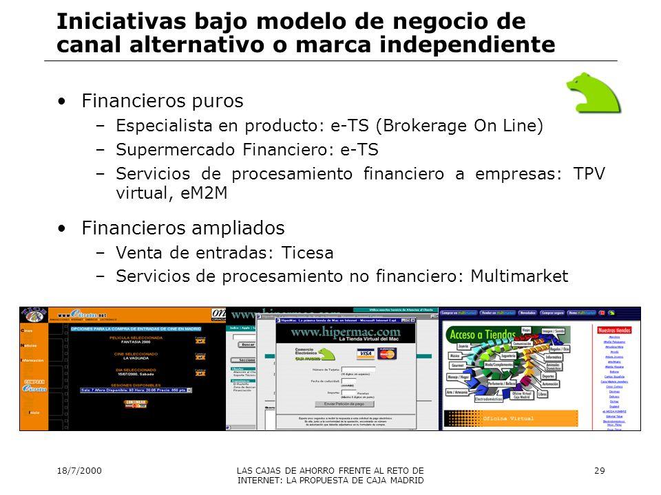 18/7/2000LAS CAJAS DE AHORRO FRENTE AL RETO DE INTERNET: LA PROPUESTA DE CAJA MADRID 30 Iniciativas relacionadas con inversiones de capital en empresas de Nuevas Tecnologías Más de 25 iniciativas lanzadas desde Caja Madrid o la SPPE de su Corporación, entre inversiones estratégicas, estables, pasivas y activas: –Indra –Meta4 –MarcoPolo FCR –Canalcv.es –muchamasvida.com –….
