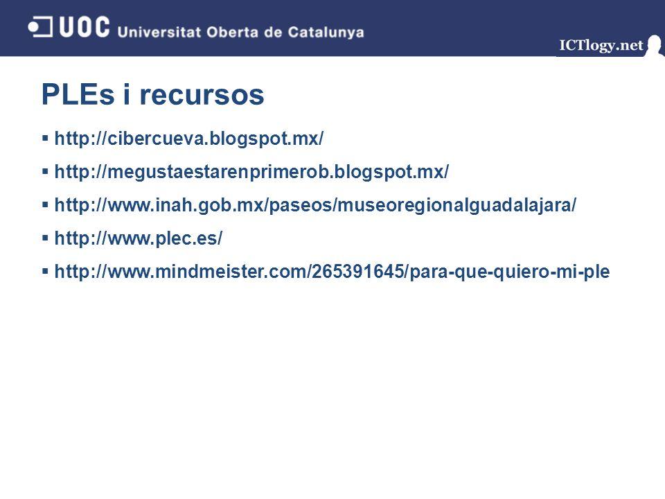PLEs i recursos http://cibercueva.blogspot.mx/ http://megustaestarenprimerob.blogspot.mx/ http://www.inah.gob.mx/paseos/museoregionalguadalajara/ http://www.plec.es/ http://www.mindmeister.com/265391645/para-que-quiero-mi-ple 4/43