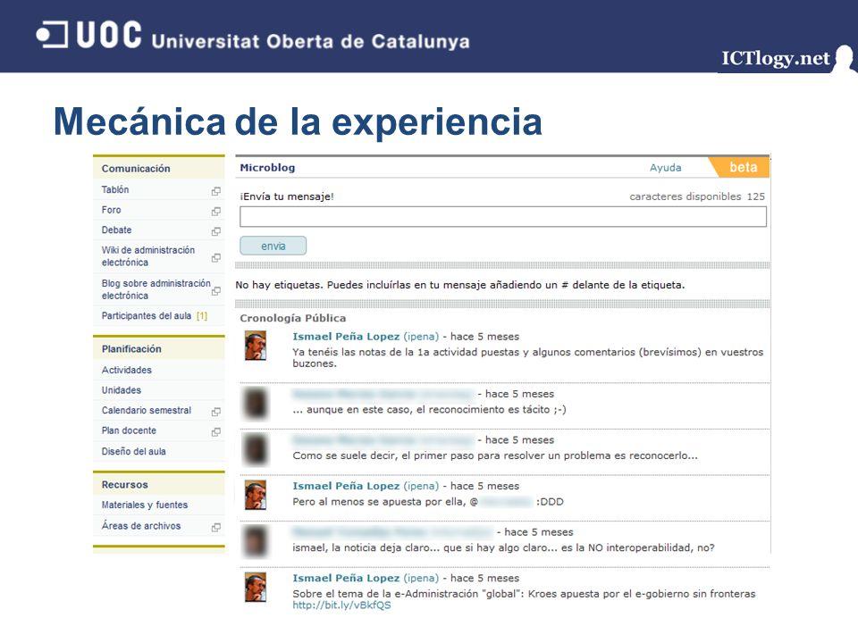 Mecánica de la experiencia 16/43