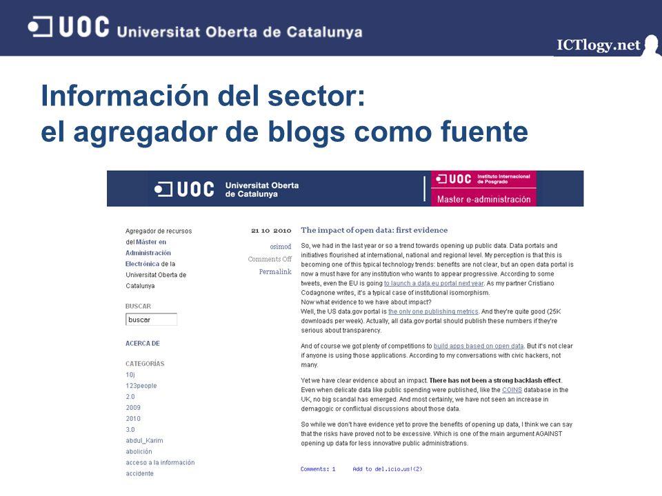 Información del sector: el agregador de blogs como fuente 5/43 Información externa, actualizada Fuentes diversas, profesionales del sector Estrategias de monitorización del entorno