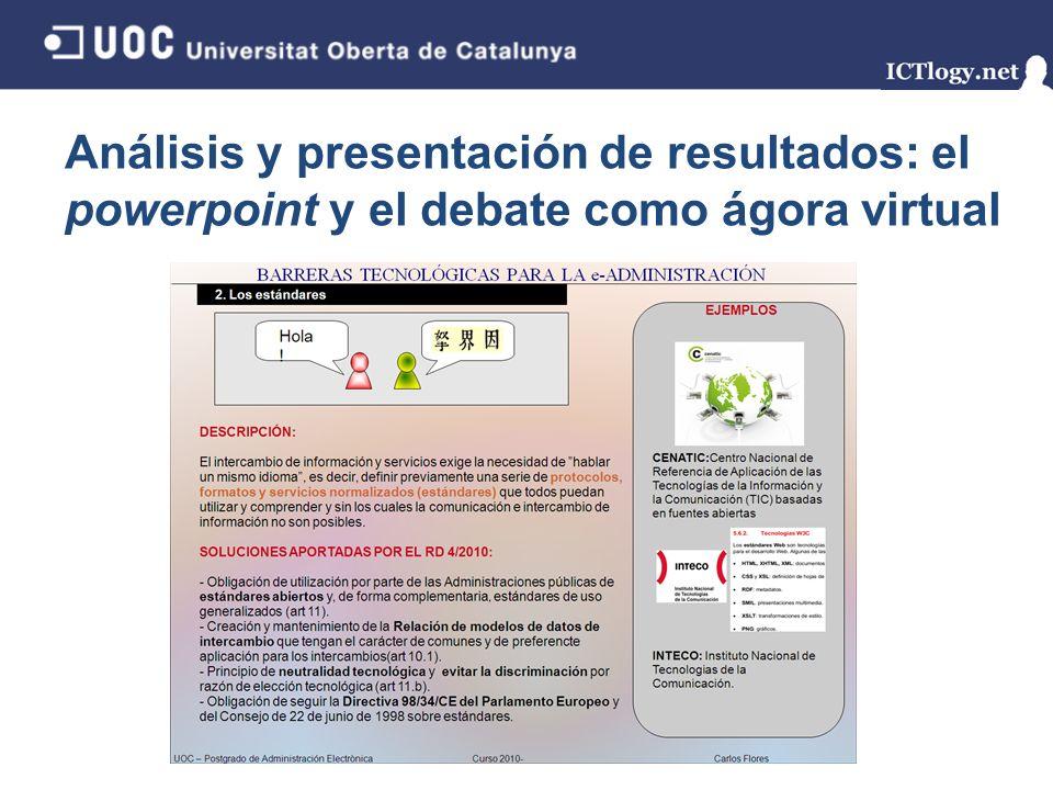 Análisis y presentación de resultados: el powerpoint y el debate como ágora virtual 6/43