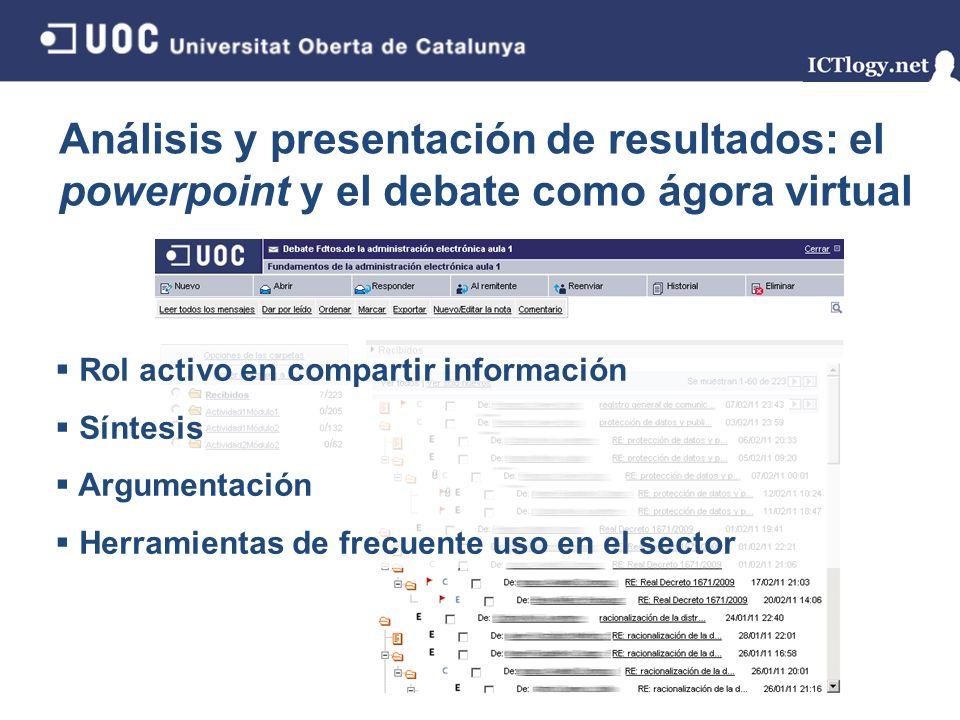 Análisis y presentación de resultados: el powerpoint y el debate como ágora virtual 8/43 Rol activo en compartir información Síntesis Argumentación He