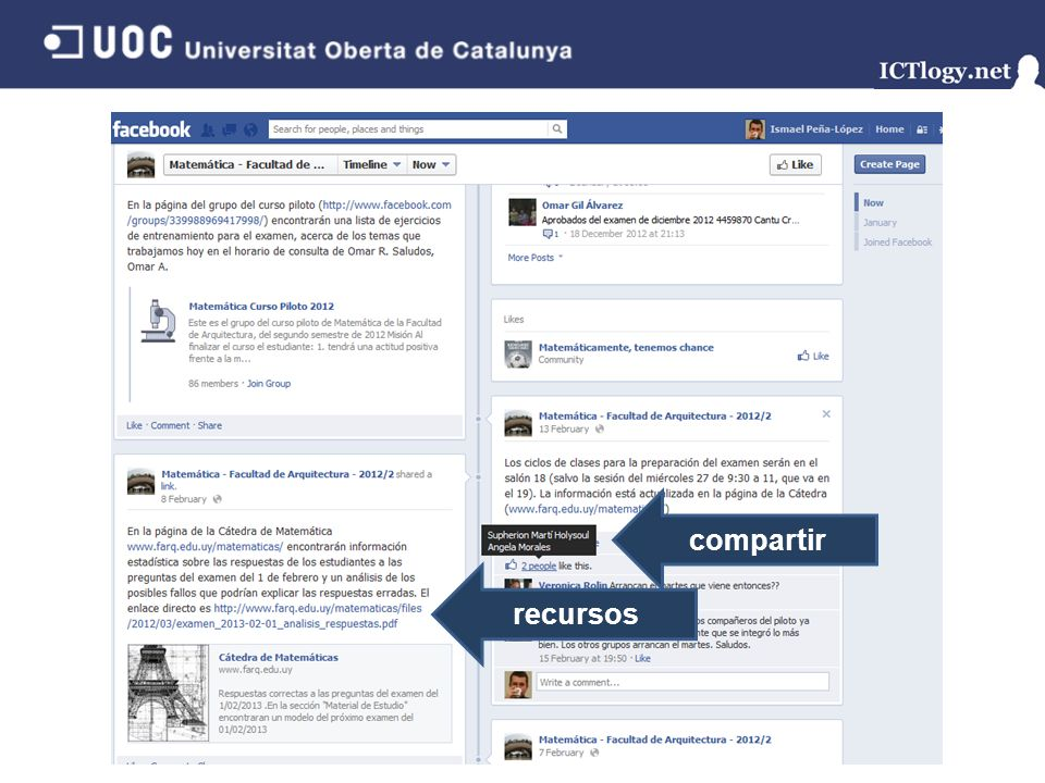 Facebook compartir recursos