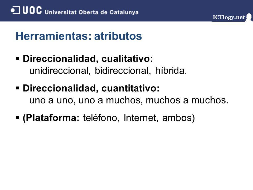 Herramientas: atributos Direccionalidad, cualitativo: unidireccional, bidireccional, híbrida. Direccionalidad, cuantitativo: uno a uno, uno a muchos,