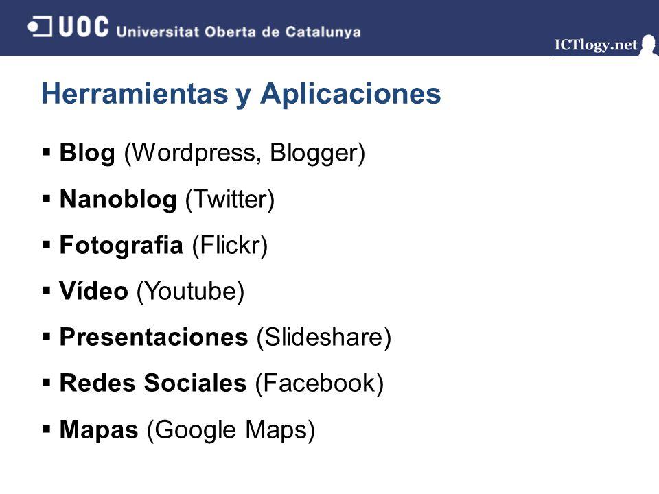 Herramientas y Aplicaciones Blog (Wordpress, Blogger) Nanoblog (Twitter) Fotografia (Flickr) Vídeo (Youtube) Presentaciones (Slideshare) Redes Sociales (Facebook) Mapas (Google Maps)
