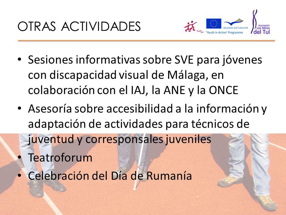 OTRAS ACTIVIDADES Sesiones informativas sobre SVE para jóvenes con discapacidad visual de Málaga, en colaboración con el IAJ, la ANE y la ONCE Asesorí