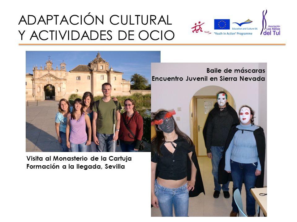 ADAPTACIÓN CULTURAL Y ACTIVIDADES DE OCIO Visita al Monasterio de la Cartuja Formación a la llegada, Sevilla Baile de máscaras Encuentro Juvenil en Si