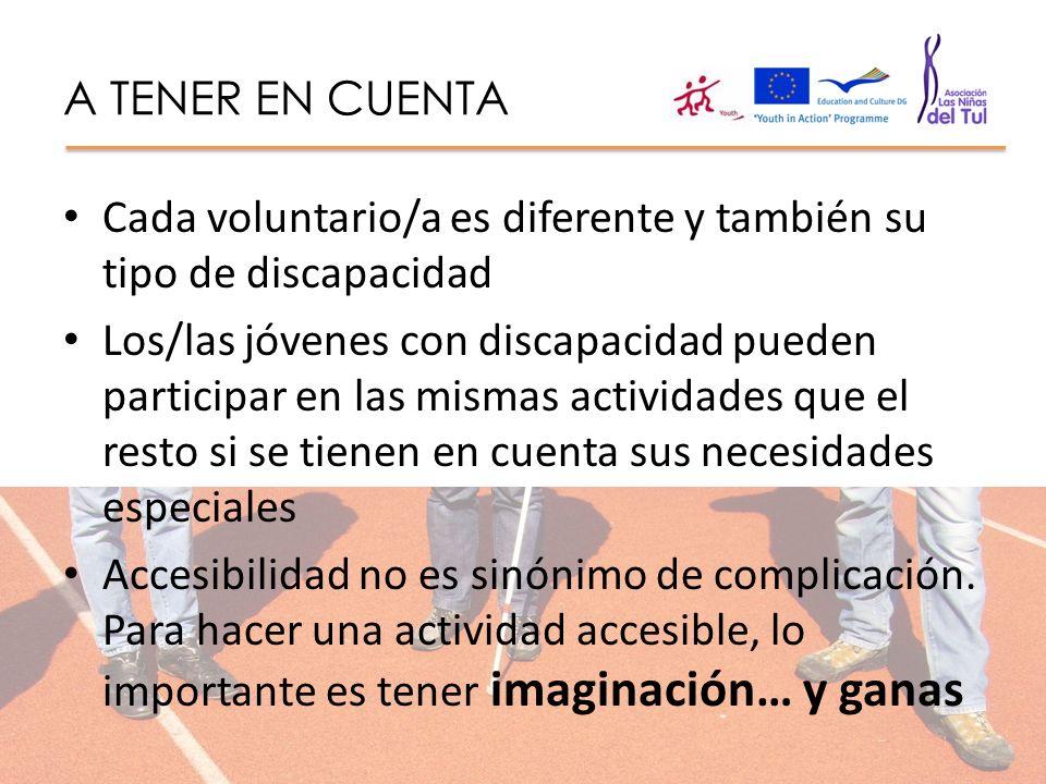 A TENER EN CUENTA Cada voluntario/a es diferente y también su tipo de discapacidad Los/las jóvenes con discapacidad pueden participar en las mismas ac